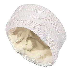 HEAT HOLDERS - Damen outdoor gestrickt strick thermo winter stirnband mit innen fleece (One size, Black)