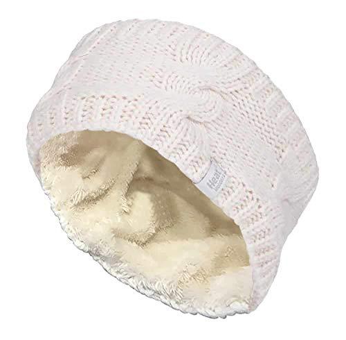 HEAT HOLDERS - Femme Tricot Large Polaire Chaud Hiver Cache Oreilles Bandeau (Headband) (One Size, Cream)
