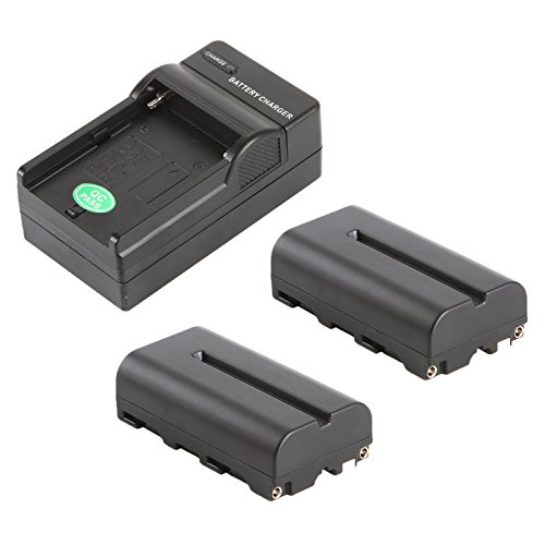 VILTROX NP-F550 2200mAh Battery (2 Pack) +Battery Charger,for Sony HandyCams and LED On-Camera Video Lights Using NP-F550 Batteries