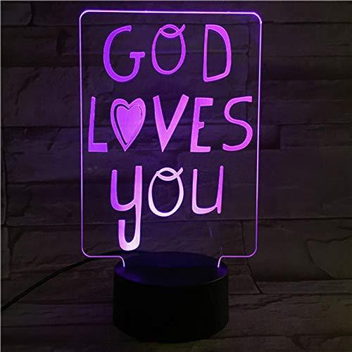 Lámpara de ilusión 3D Luz de noche Led Letras encantadoras Decoración de dormitorio Niños Bebé Regalo de cumpleaños Dios te ama para niños Niños Niñas