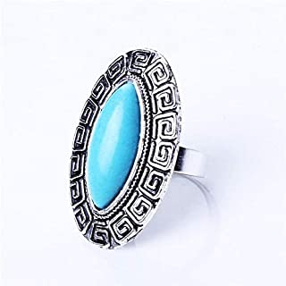 Natural Oval Stone Rings Charm Turquoise Adjustable Finger Ring