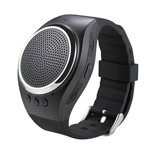 WleSpeakers Reloj con Altavoz Bluetooth, Reloj Creativo Reloj con Pulsera Inteligente inalámbrico portátil con Altavoz Muñeca Reproductor de música Compatible con USB recargado, Llamada Reloj,Black