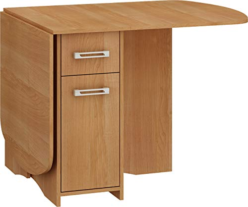 BIM Furniture Ausziehtisch HOMI Mini 10 160x80x75 cm Klapptisch Küchentisch Esstisch Oval Tisch mit Schrank und Schubladen (Erle)