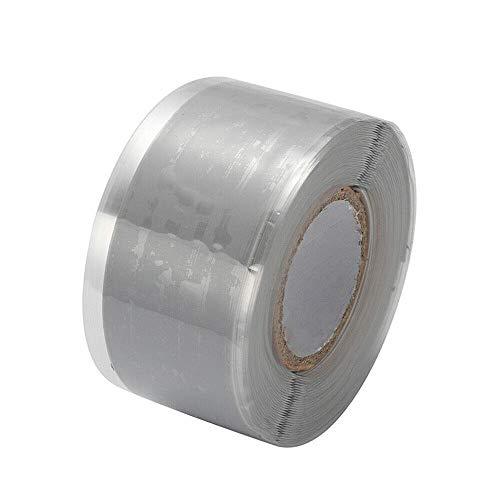 Isolierband, Silikonreparatur-Dichtungsband, wasserdichtes selbstschmelzendes Rohrreparaturband (2,5 cm x 3 m, 1 Stück, grau)