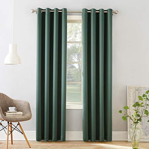 "Sun Zero 53243  Barrow Energy Efficient Grommet Curtain Panel, 54"" x 84"", Everglade Green"