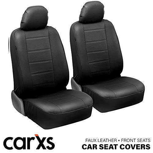 carXS UltraLuxe Faux Leather Car Seat Covers, Front Seats Only – Front Seat Cover Set, Padded for Comfort, Universal Fit for Cars Trucks Vans & SUVs (Black)