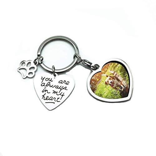 Super Idee Personalisiert Schlüsselanhänger mit Hund Mini Bilderrahmen Hundepfote Gravur You Are Always in My Heart Edelstahl Herz Schlüsselhalter als Geschenk zum Geburtstag oder zu Weihnachten