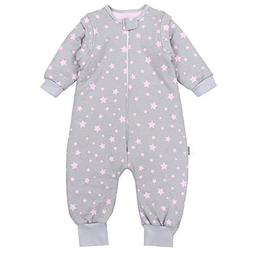 TupTam Baby Unisex Schlafsack mit Beinen und Ärmel Winter, Farbe: Sterne Rosa/Grau, Größe: 92-98