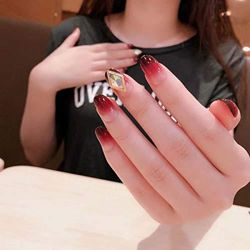 chenche Nagel Aufkleber für Mädchen 24pcs volle Abdeckung gefälschte Nägel Mode lila und rot Farbverlauf gefälschte Nägel glänzende Diamant Strass gefälschte Kurze Nägel