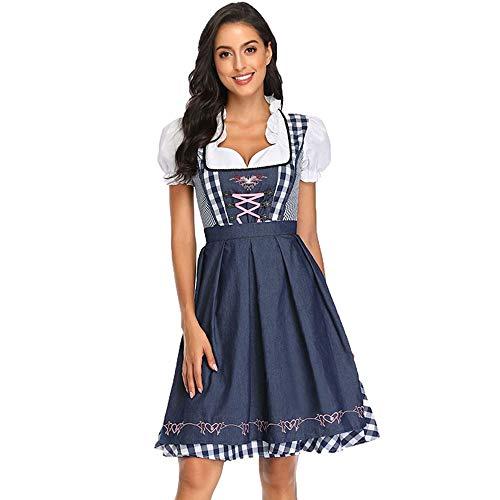 fagginakss Dirndl Oktoberfest Trachtenkleid - Kostüm-Set für Damen Midi Kleid mit Schürze Perfekt für Fasching, Party, Karneval & Oktoberfest, Größen S-XXL