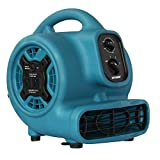 XPOWER P-230AT 1/5 HP 800 CFM 3 Speeds Mini Air Mover with 3-Hour Timer and Built-in Dual Outlets for Daisy Chain, 2.3-Amp (Pack of 1)