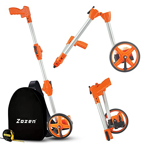 Measuring Wheel in Feet, Zozen 3-Sections Collapsible 6-Inch Measure Wheel, Industrial Unit [Up to 10,000Ft] with Carrying Bag and Tape Measure
