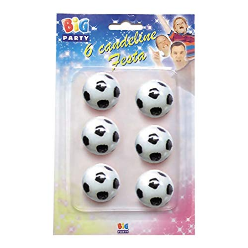 Big Party- Candeline a Forma di Pallone da Calcio, Bianco e Nero, CC43001