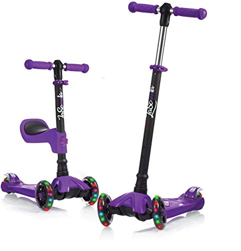 Lascoota Kick Scooter for Kids - Adjustable Height w/ Extra-Wide Deck PU Flashing Wheels Great Kids Scooter & Toddler Scooter 3-12 Years Old (Purple, 2 in 1 with Seat)