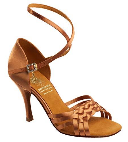Supadance Style 1178 – Dark Tan Satin Damen Tanzschuhe – Lateinische Sandale mit geflochtener Front, Langer Riemen, Dark Tan Satin, Dark Tan - Größe: 38.5