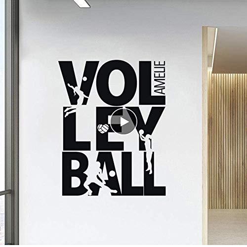 Sommer Beach Volleyball Wandtattoo Benutzerdefinierte Name Sport Mädchen Room Decor Volleyball Zeichen Spielen Silhouette Vinyl Wandbild 42X53 Cm