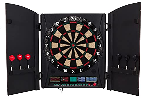 Dartboard Cabinet Set Electronic Board with Integrated Wood Door
