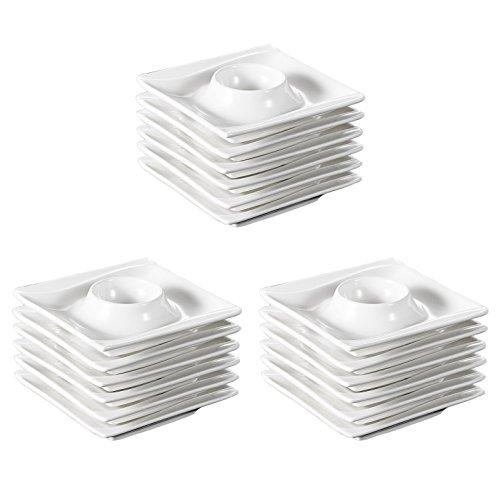 MALACASA, Série Carina, 18 Pièces Coquetier en Porcelaine Oeuf Support