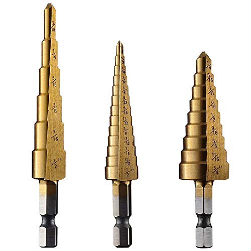 amoolo Titanium Step Drill Bit Set (3Pcs), Total 28 Sizes HSS 1/4' Hex Shank Unibit for Metal, Wood, Plastic, Multiple Hole Drilling Cone Bit Set