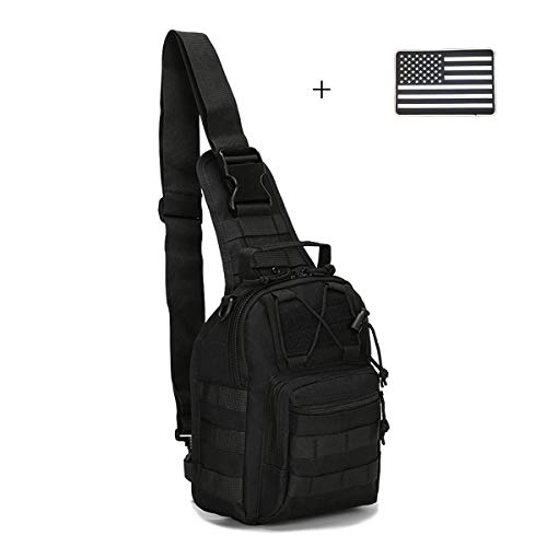Dunnta Tactical Sling bag, Military Sport Bag EDC Molle Pack Daypack for Camping, Hiking, Trekking, Rover Sling (Black with USA Flag Patch)