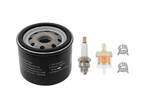MOTOKU Oil Filter Fuel Spark Plug for Craftsman LTX1000 LT2000 John Deere L110 D110 L118 LA120 D125 Lawn Mower Tractor Briggs & Stratton 14 20 HP V-Twin Engine 122600 123600 OHV 115-170 492932S