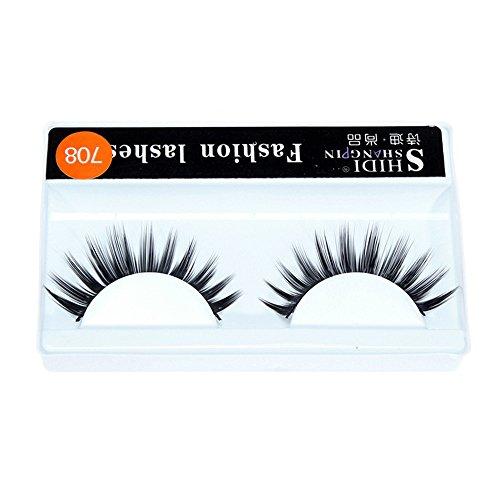 Momoxi Lidschatten,Augen Make-up Augenbrauenstift 1 Paar langes Make-up Kreuz dick falsche 3D-dichte Wimpern Wimpern nautral
