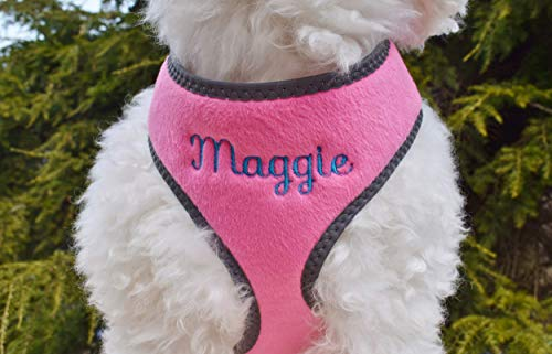 Personalized Custom Pink Plush Padded DOG Harness | Embroidered Name Option | Made in USA