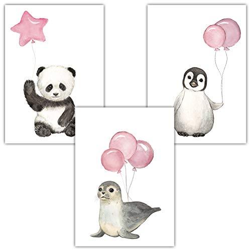 Frechdax® 3er Set Kinderzimmer Poster Baby Bilder DIN A4 | Waldtiere Safari Afrika Tiere Tierposter Luftballon Ballon Farbwahl (3er Set Rosa, Pinguin, Panda, Seehund)