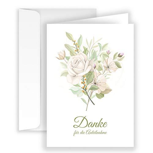 10x Danksagungskarten Trauer mit Umschlag Klappkarten Trauerkarten Danksagungskarte Danke Karte Beerdigung Anteilnahme Hellgrün Rose Rosen