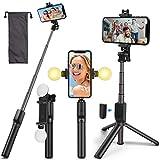 Umitive Palo Selfie Trípode, 4 en 1 Selfie Stick Bluetooth con 2 Luz y Inalámbrico Control Remoto, Monópode Extensible, 360° Rotación Palo Selfie para iPhone, Xiaomi, Huawei y Samsung