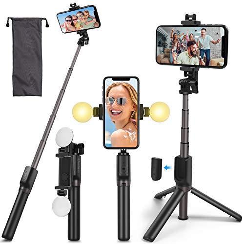 Umitive Selfie Stick Stativ, 4 in 1 Erweiterbar Handyhalter Monopod mit Bluetooth Fernbedienung und 2 Lichter, 360° Drehbar, Kompatibel mit iPhone, Samsung, Huawei und 4.7-6.5 Zoll Smartphones