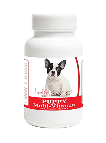 Healthy Breeds Multivitamin for Puppy for French Bulldog - Over 100 Breeds - Veterinarian Formulated Daily Dietary Supplement - Liver Flavored Treats - 60 Chews