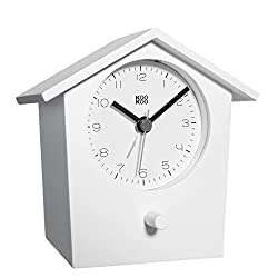KOOKOO EarlyBird White, Bird Voice Alarm Clock with Real Bird Voices and a Three-Tone gong, MDF Wood Cabinet, Wake up in Nature and with Natural Field Recordings