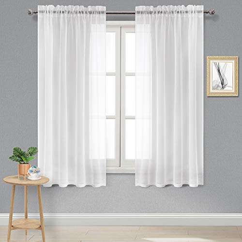 DWCN White Sheer Curtains Linen Look Rod Pocket Bedroom Curtain Panels 52 x 63 inch Length Living Room Curtains,Set of 2