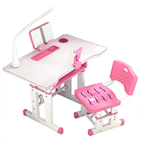 Karamoda US Fast Shipment Child Desk and Chair Set,Student Writing Tables with Drawer Storage/Led Light/Reading Stand,Adjustable Height Childs Study Desks