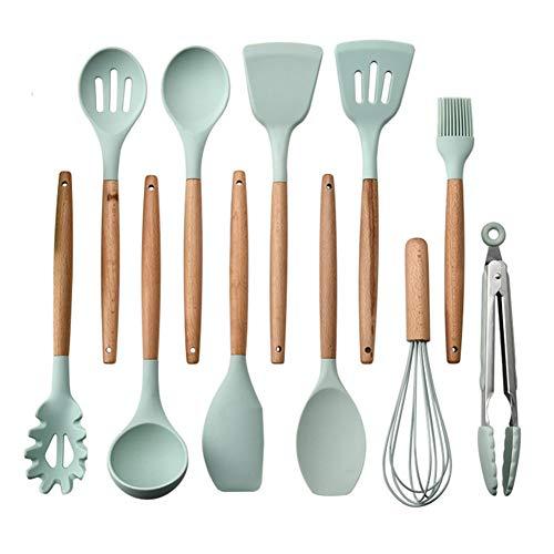 æ— Juego de 11 utensilios de cocina de silicona antiadherente resistente al calor, con mango de madera, espátula, pala, cuchara, batidor de huevos, cepillo de aceite