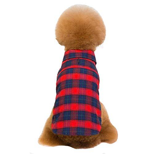 WTDlove Animal de Compagnie de vêtements Revers Classique à Deux Pattes Plaid Chemise à Carreaux Teddy Habits pour Chiens