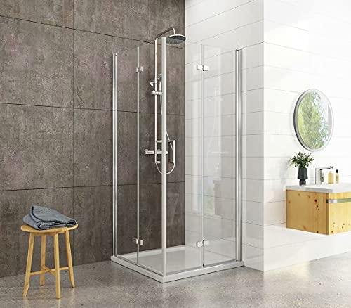 Heilmetz Duschkabine 90x90cm Duschabtrennung Doppelt Falttür Rahmenlos Duschtür Duschtrennwand aus 6mm ESG Sicherheitsglas mit beidseitiger Nano Beschichtung Höhe 195cm