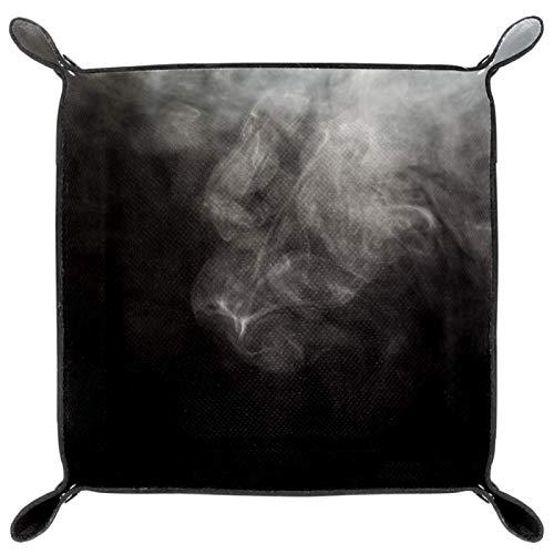 laire Daniel Faltbares Würfeltablett aus PU-Leder für Uhren, Schmuck, Aufbewahrungsbox, schwarz, weiß, rauchfarben