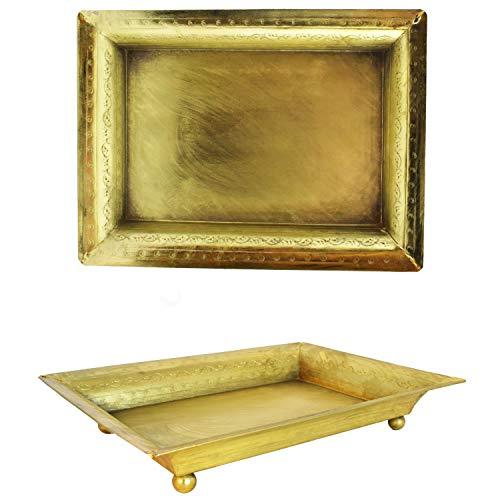 Orientalisches eckiges Tablett Schale aus Metall Genna 24cm groß Gold | Orient Dekoschale mit hoher Rand | Marokkanisches Serviertablett Eckig | Orientalische goldene Deko auf dem gedeckten Tisch