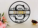 Personalized Black Metal Sign Customized Monogram Split Regal Letter Last Name Wedding Gift Initial Laser Cut Outdoor Est. Sign Wall Decor Established Initial Hanging House Decorations Housewarming