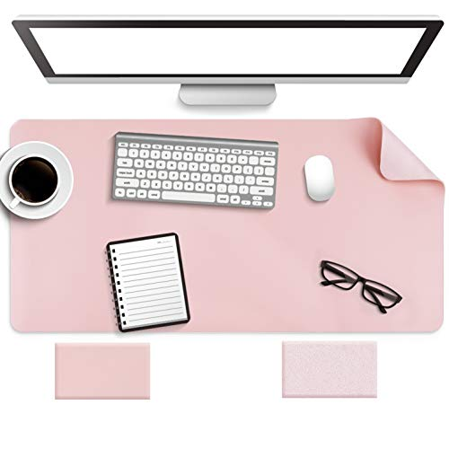 Non-Slip Desk Pad, Waterproof PVC Leather Desk Table Protector, Ultra Thin Large Mouse Pad, Easy Clean Laptop Desk Writing Mat for Office Work/Home/Decor(Pink, 31.5' x 15.7')