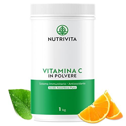 Vitamina C Polvere 1 kg   100% Acido Ascorbico Puro 1000mg   Polvere Ultra Fine   Migliora il Sistema Immunitario   Confezionata in Francia   Cucchiaio di Misurazione Incluso   Nutrivita