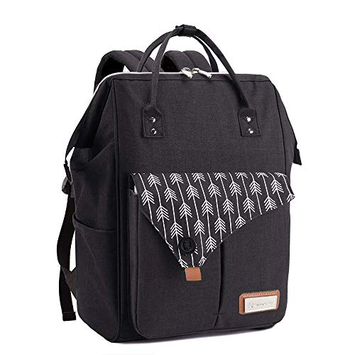 Lekebaby Nappy Changing Backpack Changing Bag with Changing Mat, Black