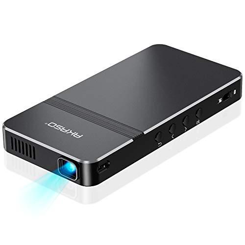 AKASO プロジェクター 小型 DLP ミニ 1080P対応 WIFI接続 台形補正±30°スマホと直結でき 4000Mah モバイルバッテリーとして使用可 1400lm スマホ/TV Stick/TV Box/タブレット/ゲーム機など接続可 内蔵スピーカー HDMI/Micro USBケーブル 三脚 リモコン付属 2年品質保証
