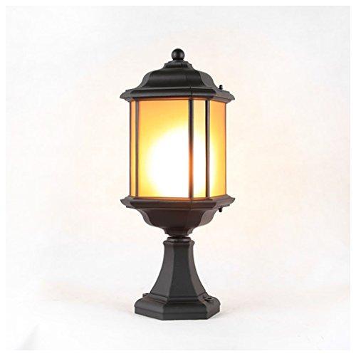 Brilliant firm Eclairage pour terrasse et Patio Phares de Colonne de Pluie extérieure E27 Cour Mur Maison Feux de la Maison Paysage Feux Fin Lampe de Table A++ (Color : Black, Size : 21 * 21 * 56cm)