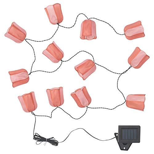 SOLVINDEN Ikea Lichterkette (12), LED, für draußen solarbetrieben, Tulpe rosa