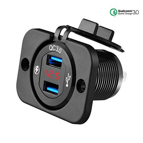 SYCEES USB Auto Steckdose, USB Einbaubuchse Kfz,Quick Charge 3.0 Auto Ladegerät mit LED Spannungsanzeige,12V-24V Zigarettenanzünder Ladegerät Adapter für Auto, Motorrad, Marine, Wohnmobil,LKW, SUV usw