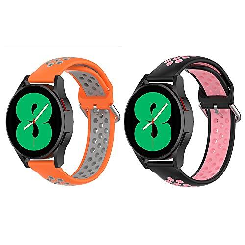 BoLuo 22mm Correa paraGalaxy watch 4 44MM,2 Pcs Bandas Correa Repuesto,Silicona Reloj Recambio Brazalete Correa Repuesto para Galaxy Watch4 Classic 46MM/Galaxy Watch/Gear S3 Frontier (rosa verde)