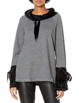 Calvin Klein Women s High Neck Velour Pullover with Wide Sleeves and Ties Black Heather Large